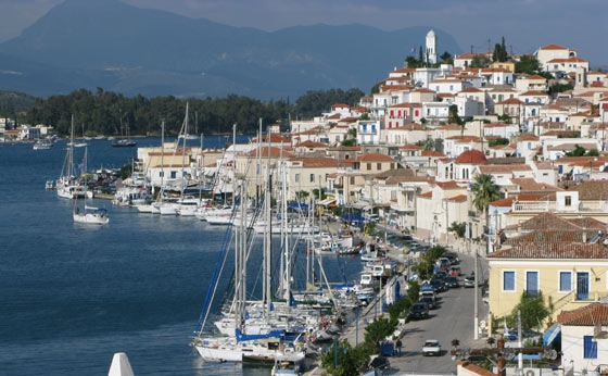 poros town marina Five islands to visit when sailing in the Saronic Gulf