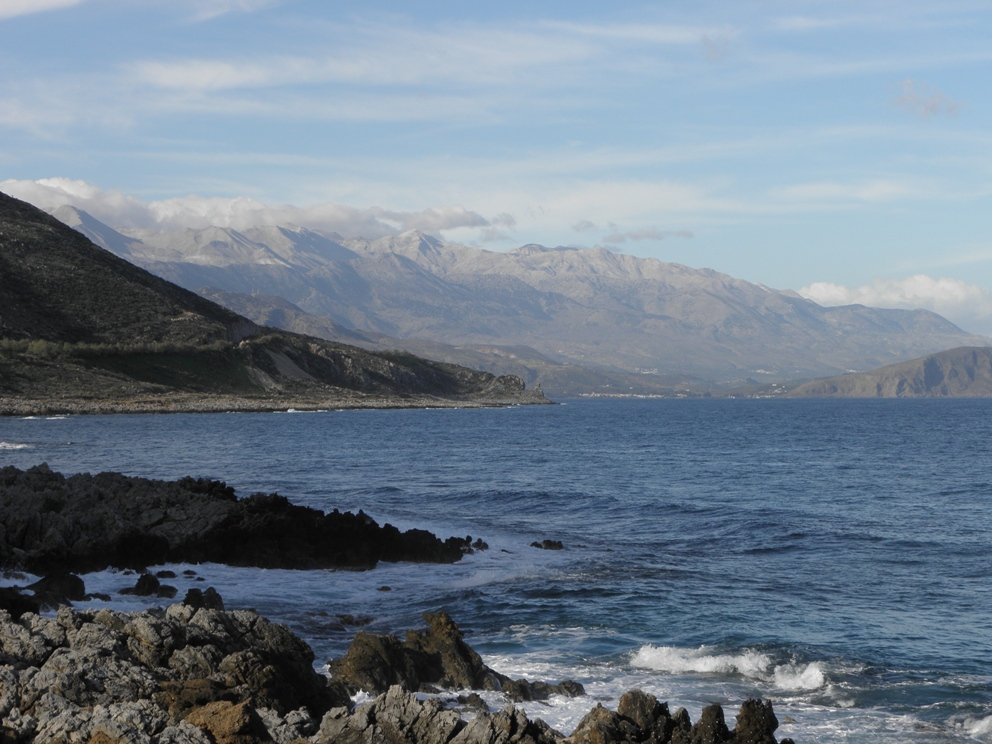 The White Mountains rising from the sea on Crete - courtesy Visit Greece Blog
